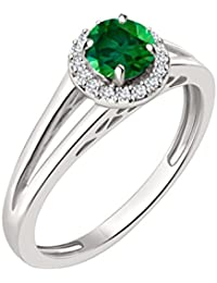 Silvernshine 7mm Green Emerald & Sim Diamond Halo Engagement Ring In 14K White Gold Plated