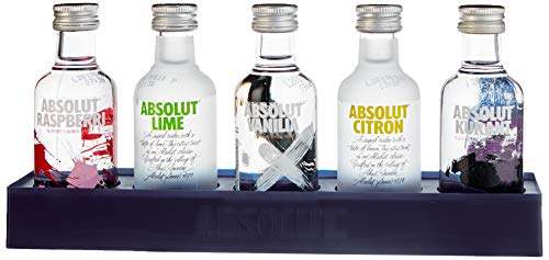 Absolut Five Vodka Set – 5er Pack Absolut Vodka Mix mit Absolut Vodka Original, Absolut Kurant, Absolut Citron & Absolut Vanilia – 5 x 50 ml