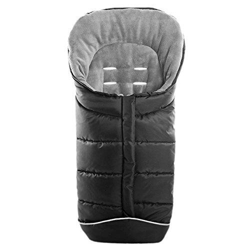 Universal Winter-Fußsack für Kinderwagen, Sportwagen & Buggy Comfort   mit Anti-Rutschschutz, weiches Deluxe-Thermo-Fleece, warme Mumien-Kapuze, Reflektorstreifen   Schwarz Grau