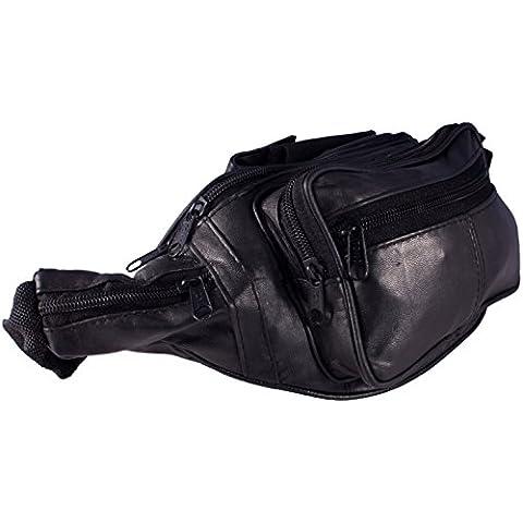 Explorer Deluxe Black Leather Bum Bag / Belt bag