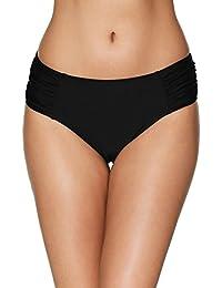 CharmLeaks Women Medium Waisted Swim Briefs Solid Bikini Bottoms Swimwear Bottom