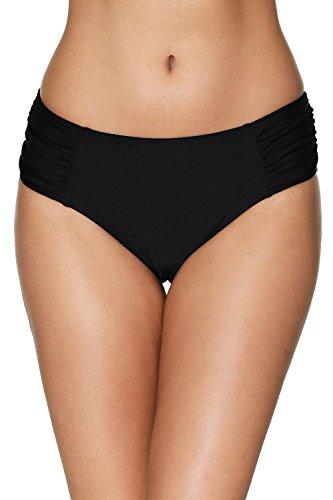CharmLeaks Damen Bikinihose Falten mit Hoher Taille Badehose Basic Schwarz L