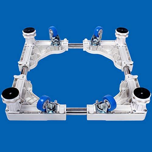Mfnyp Waschmaschine Sockel Kühlschrank Basis, Und 4 Verstellbare Stützbeine Mit Drehbarem Gummi Räder Für Trockner, Trommelwaschmaschine,Weiß
