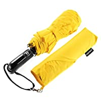 Ergonauts Windproof Vented Double Canopy Travel Umbrella - Teflon Coating, Ergonomic Handle & Protective Sleeve - Portable Compact Foldable Lightweight Design and High Wind Resistance