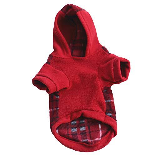 Welpenmantel des Haustierhundeplaidhemdes mit Kapuze warme im Freien warme Winterkleidung des warmen (M, Rot) ()