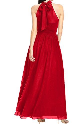 Sunvary Damen Kragen Rot Chiffon Abendkleider Lang Ballkleider Festkleider  Schokolade