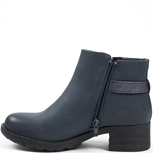 Ideal Shoes – Scarponcini stile Chelsea con tallone colorato Nataline Blu