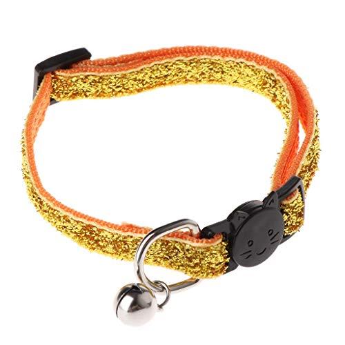 Vektenxi Haustier-justierbares Anti-verlorenes Halsband, Katzen-Hundewelpen-Sicherheitshalsband mit Bell Gold Premium-Qualität -