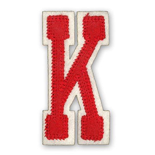 Alphabetbuchstaben nach Uniauswahl Art: rote Aufbügelapplikation Buchstabe K (Eisen-auf Stoff Buchstaben-patches)
