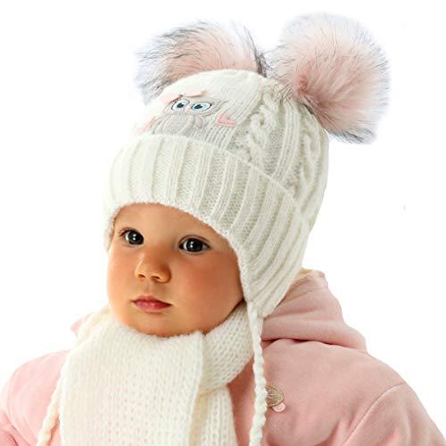 EU Ware AJS Baby Mädchen Winterset Wintermütze Strickmütze gefüttert Schal 2 Bommel Eule mit Wolle Farbe Vanille -