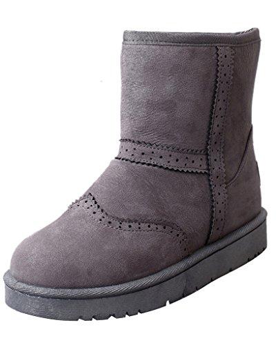 Minetom Damen Winter Warme Stiefel Mode Stiefeletten Flache Ferse Schneestiefel Rutschfest Boots Schuhe Grau EU 35 (Stiefel Ferse Piraten)