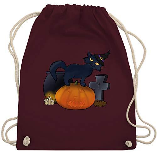 Halloween - Halloween Katze mit Hexenhut - Unisize - Bordeauxrot - WM110 - Turnbeutel & Gym Bag