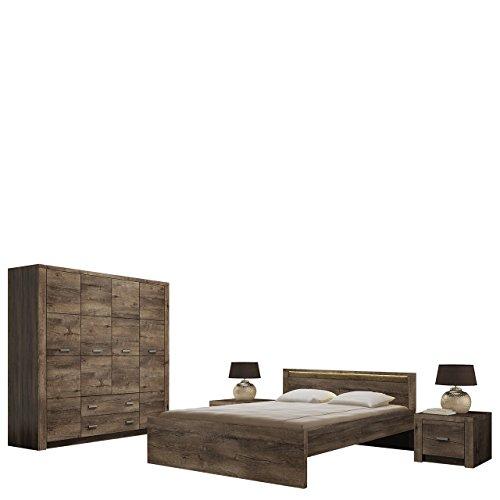 Mirjan24  Schlafzimmer Set Indiano I, Elegante Bett, Drehtürenschrank mit 3 Kleiderstangen, 2 Nachttische, Familienbett, Ehebett (Esche Dunkel, mit warmweißer LED-Beleuchtung)
