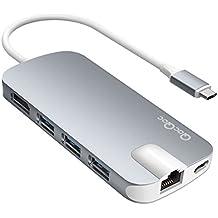 QacQoc GN30H USB C Hub con suministro de energía para carga ,HDMI Salida,tarjeta slot, 3 USB 3.0 Puertos. Gigabit Ethernet con especificación de PD para MacBook 12-Pulgada (Gris)