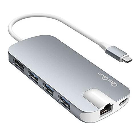 USB C Hub QacQoc USB C Adapter mit Typ C Ladeanschluss, HDMI Port, Gigabit LAN, SD-Kartenleser, Micro SD-Kartenleser, 3 USB 3.0 Ports für Typ C Geräte wie MacBook, MacBook Pro, Google Chromebook