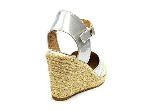 SHT22 * Sandales Espadrilles Compensées avec Rayures Paillettes et Bride Verni - Mode Femme Argenté