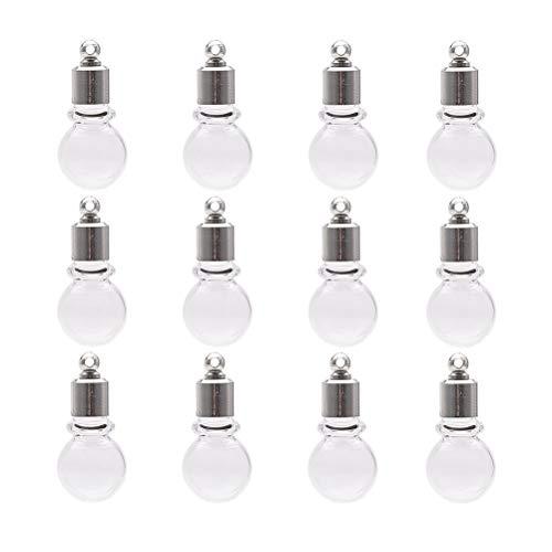 SUPVOX Ich wünsche Flasche Anhänger Runde transparente Glas Schmuck Material hängen für DIY Schmuck machen Dekor 15pcs -