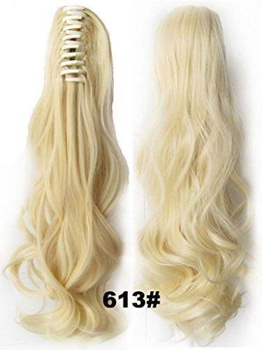 RemyHair Klammer gewellt Pferdeschwanz Zopf Haarverlaengerung Haarteil #613 Platinum Blonde