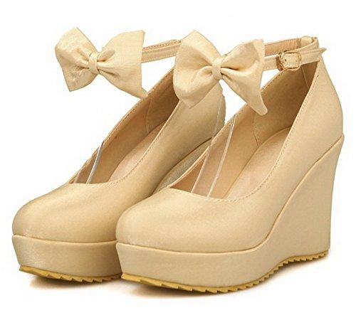 Creme Sapatos Bico Puramente Mulheres Fivela Salto Bombas Agoolar Redondo Alto qf86RaRw