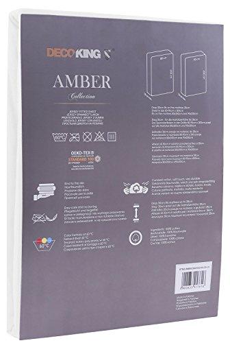 DecoKing 18101 80x200-90x200 cm Spannbettlaken weiß 100% Baumwolle Jersey Boxspringbett Spannbetttuch Bettlaken Betttuch White Amber Collection - 3