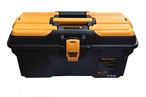 Taparia PTB13 Compact Plastic Tool Box with Organizer (Orange and...