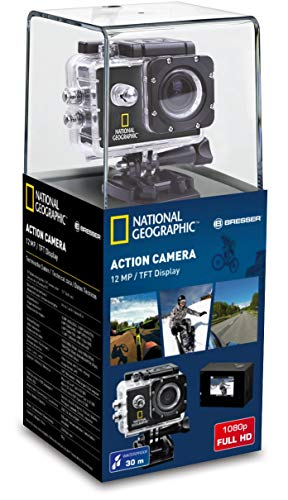 "National Geographic Full-HD Action Camera 12 MP mit 140° Weitwinkel Linse, 1920x1080 Px Videoauflösung, USB 2.0, 1,5"" TFT Bildschirm, wasserdichtem Gehäuse und viel Montagezubehör"