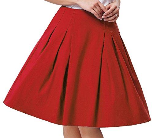 Grace Karin Damen Falten A-linie Rock Vintage Einfarbig Dehnbar Große Schaukel Party Rock CL451 Rot