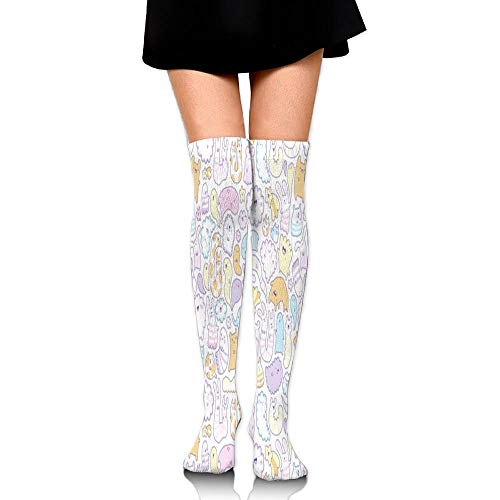 Bgejkos Classic Over Knee High Socks Stars and Clouds 60cm Thigh High Stockings