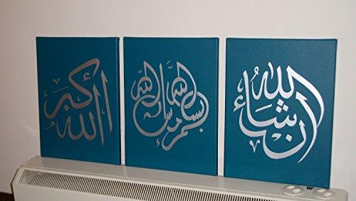 Leinwand-wand-kunst Arabisch (Handgefertigt Arabische Kalligraphie Islamische Bilder Wand Kunst 3Panels Öl Gemälde auf Leinwand für Wohnzimmer Home Dekorationen Holz gerahmt grün 91,4x 40,6cm)