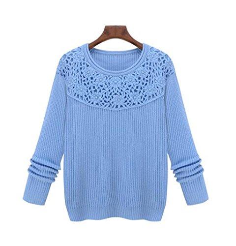 Byjia Casual Shirt Maglia Maglione Girocollo Hollow Camicetta Delle Donne Pullover Allentato Top Manica Lunga A Cappotto Sportivo Slim Solido Di Colore . Blue . M