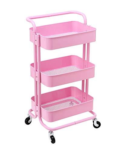 HollyHOME 3 Etagen Rollwagen Allzweckwagen Starker Metallgitter Korb Regale für Bad, Küche, Büro, Badezimmer, Pink