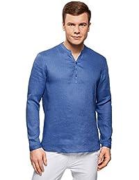 oodji Ultra Herren Kragenloses Leinenhemd