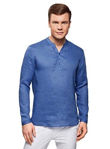 Oodji ultra uomo camicia in lino senza colletto, blu, 44cm/it 54/eu 56/xl