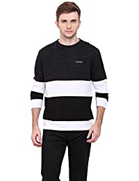 LE BOURGEOIS Black and white color round neck full sleeve men's t-shirt
