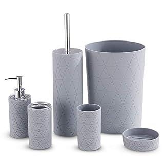 LIVIVO Stilvolles 6-teiliges Badezimmer- und Spüle-Zubehör-Set – Modernes Kosmetik-Organizer-Set inklusive Becher, Zahnbürste und WC-Bürstenhalter, Lotionspender, Seifenschale und Mülleimer Grey Geo