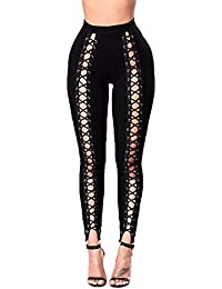 TININNA Mujeres Ladies Sexy Hollow Out vendaje lápiz pantalones alta cintura elástico delgado lápiz Pantalon leggings pantalones de compresión Bodycon, negro, X-Large