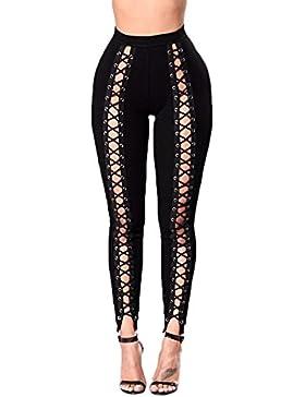 Pantalones pitillo de cintura alta de Tininna, leggings elásticos con agujeros , negro, Small