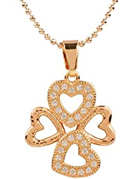 Ananth Jewels Heart Shaped Rose Gold Plated Pendant Necklace For Women - B073T3MGR4