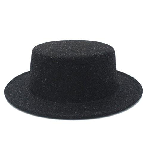 ZX Boater Flat Hat para Hombres de Fieltro de ala Ancha Chapeu de Feltro  Gambler Prok 8678bf5495b