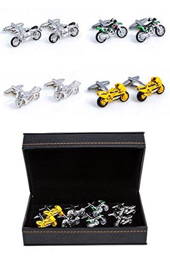 mrcuff Motorräder 4Paar Manschettenknöpfe in einer Geschenkbox und Reinigungstuch -