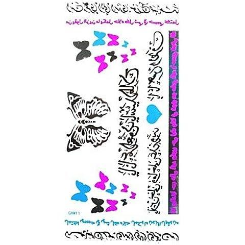 HJLWST® 1pc sticker tatuaggio impermeabile multicolore arabo a forma di cuore di numerazione argento farfalla blu serie fluorescente
