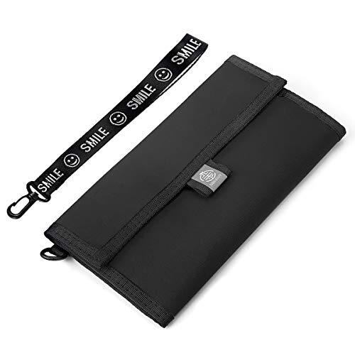 XIANGUO Reisepasshülle Unisex Reisebrieftasche Wasserdichtes Nylongewebe RFID Schutz Mit Gurt & Handschlaufe Schwarzes 20 cm x 11 cm - Rfid-reise-geldbörse Hals