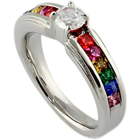 UM Joyería Cristal lesbiana Orgullo Arco iris anillos Acero inoxidable gay Boda Banda