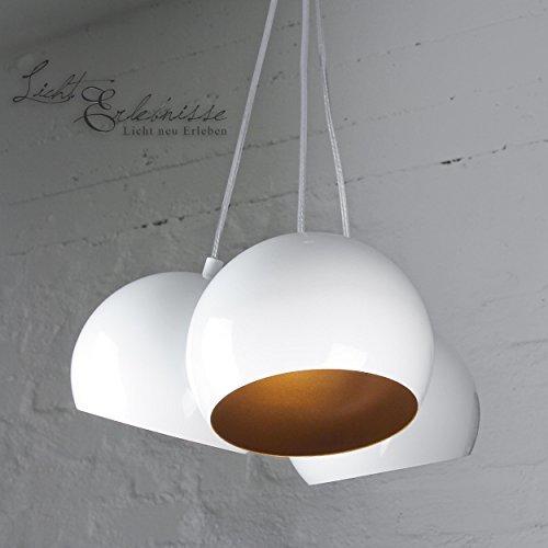 Hängeleuchte Retro/weiß/gold/3x GU10 bis 60 Watt 230V/Metall/Hängelampe Loft/Pendelleuchte Wohnzimmer/Schlafzimmer Jugendzimmer Vintage Leuchte Kugel Lampe