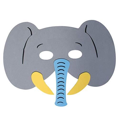 Werbewas 1x Schaumstoff Masken mit Elefant Tiermotiv - als Karnevals, Halloween, Geburtstags-Party Kostüm