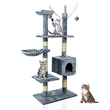 Blackpoolaluk Multi Cat Tree Stable Cat Scratch Posts Function Cat Climbing Tower Toys with Cat Home for Indoor/Outdoor Cats Activity