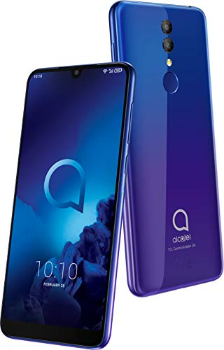 Alcatel 3 5053K Smartphone (14, 98 cm (5, 9 Zoll) IPS Display, Dual-Sim, 64 GB Speicher, 4 GB RAM, Android 9.0) lila, blau