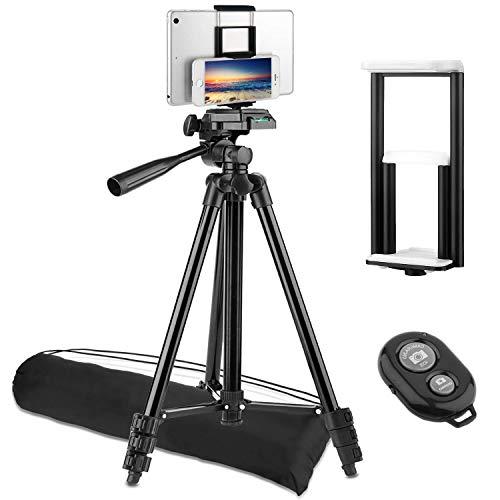 Trípode para Móvil y Tablet (50''/128 cm), PEMOTech Trípode Ligero de Cámara con [Obturador Remote Bluetooth, Universal Teléfono Móvil/Tablet Adaptador] para Apple/Samsung/Cámara