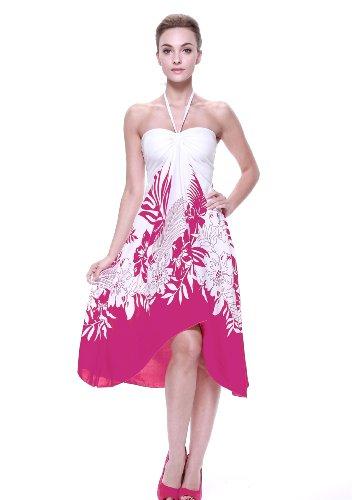 Vestido-de-mariposa-hawaiana-para-mujer-Frontera-blanca-floral-en-Rosado-S