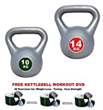 IQI Kettlebell Set of 2: 10kg-14kg Kettelbells Kettle bells INCLUDES KETTLEBELL TRAINING DVD